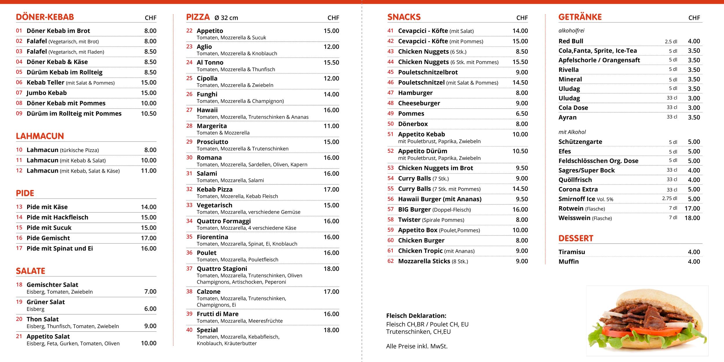 Speisekarte Appetito Bischfoszell